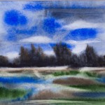 Aquarell Am See ,Landschaft, Natia Scmitt, Autodidakt